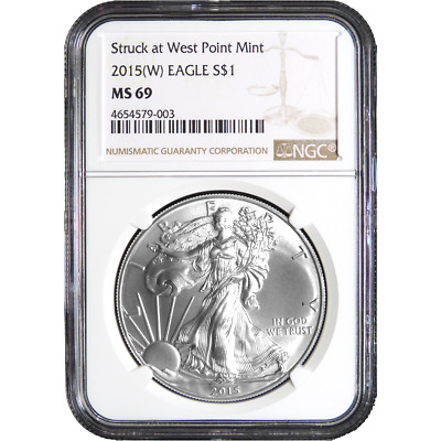 2015 (W) $1 American Silver Eagle NGC MS69 Brown Label