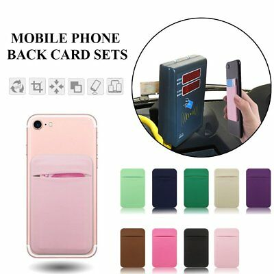 Lycra Cell Phone Wallet Back ID Card Storage Holder Case Pocket Pouch Bag w/Cap
