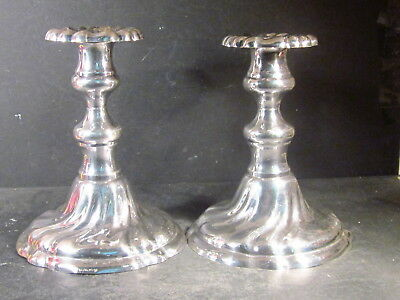 """Vintage Swedish? PAIR OF PLATED CANDLESTICKS Marked EX PR NS  7 1/4"""" H"""