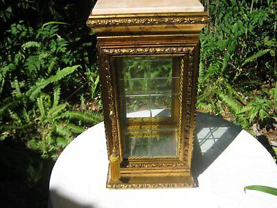 Smaller HORCHOW Gold Vitrine Excellent Condition Pink Marble Top Very Pretty