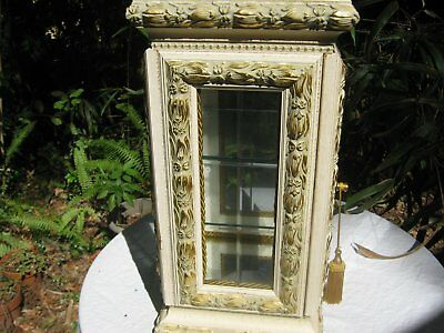 Large White/Gold Horchow Vitrine Display Cabinet Marble Top Excellent Condition