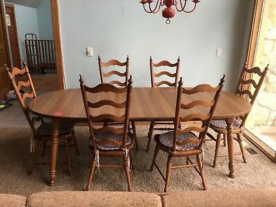Tell City Dining Set 7.6 ft. Table 6 Ladder back Chairs