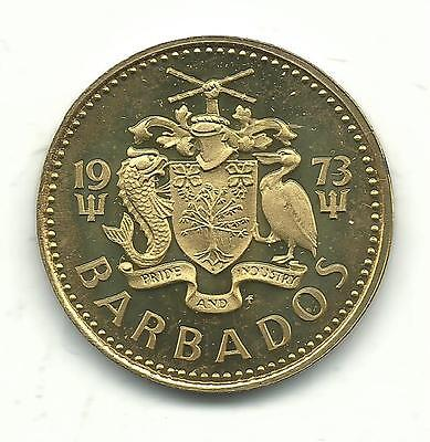 Very Nice Proof 1973 Barbados  Lighthouse 5 Cent Coin-Dec751