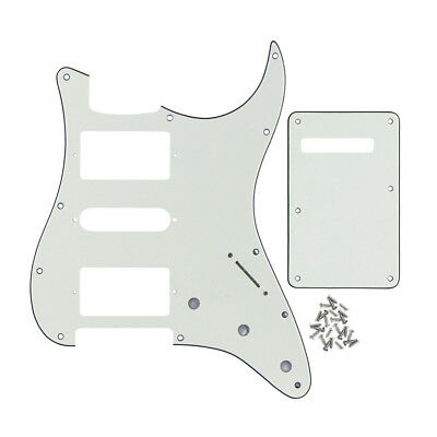 Ivory White 3Ply Fender Strat HSH Guitar Pickguard & Back Plate Scratch Plates