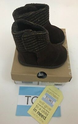 NWT Toms Girls Nepal Chocolate Suede Metallic Wool Ankle Boots Tiny 5