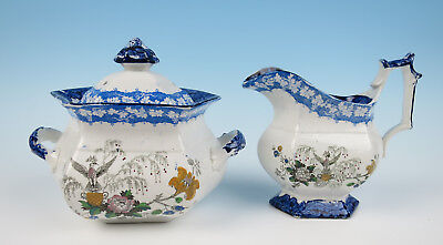 c.1847 FLENSBURG James Edwards Staffordshire Creamer & Sugar Bowl Eagle Antique