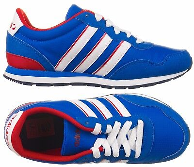Adidas Boys Girls Unisex Neo V Jog Trainers Blue / Power Red Kids New and Boxed