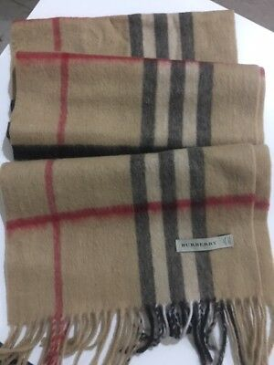 New Burberry 100% Cashmere Scarf Classic Camel made in Scotland