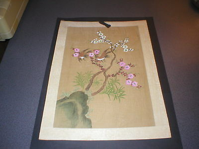 Vintage Japanese Watercolour Painting, Original, on Woven Paper, Exotic Birds