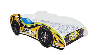 CHILDRENS BED TODDLER KIDS FREE MATTRESS RACING CAR F1 *10 DESIGNS* 140x70 cm