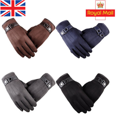 Men's Winter Warm Suede Leather Fleece Lined Thermal Touch Screen Driving Gloves