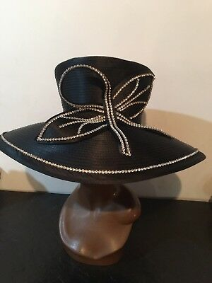 Lily & Taylor Black Wide Brim Hat Trimmed With Rhinestones
