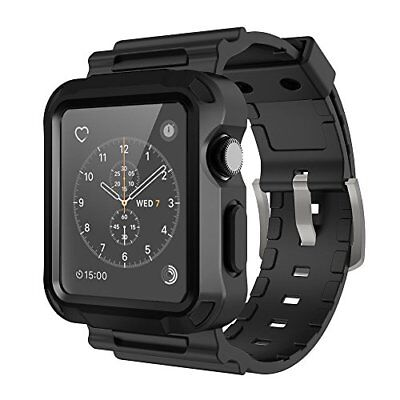 Full Protective Rugged Case with Black Bands for Apple Watch 42mm Series 3 Black