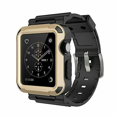 Full Protective Rugged Case with Black Bands for Apple Watch 42mm Series 3 Gold
