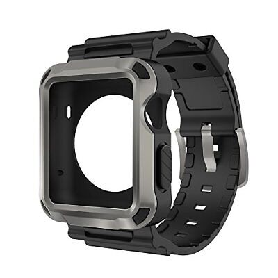 Full Protective Rugged Case with Black Bands for Apple Watch 42mm Series 3 Gray