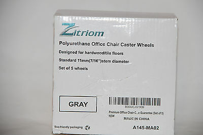 "Zitriom Polyurethane Office Chair Caster Wheels Set Of 5 | 11mm (7/16"") Stem"