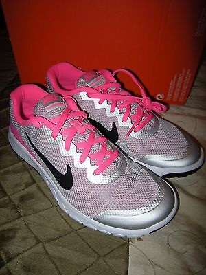 Brand New Girls Gray, Black & Pink Nike Flex Experience 4 Tennis Shoes, Size 6