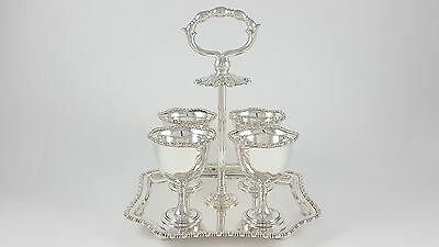 Antique George V Solid Sterling Silver 4 Egg Cup Cruet & Stand - 1910 - 647G