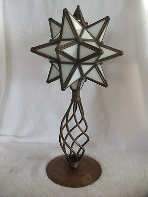 Vintage Copper Candle Holder Stand 3D Star Frosted White Stained Glass 16 Point