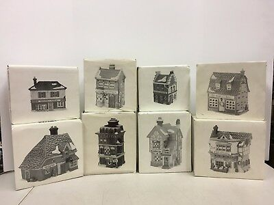 Dickens Village Series Lot of 8 Pieces Fish Shoppe Watchmaker Counting House