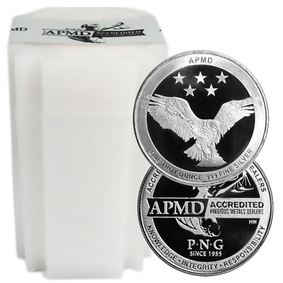 Lot of 20 - 1 Troy oz APMD .999 Fine Silver Round Full Roll