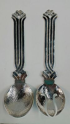 Mexico LOS CASTILLO Large Heavy Silver Plate SALAD SERVING SET