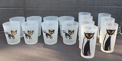 Vtg Lot of 15 Mid Century / Retro Frosted Cat 22K Gold Bar Glasses Tumblers Cups