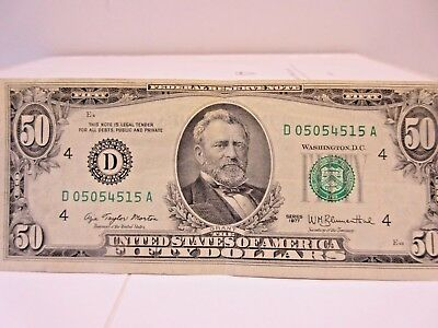 1977 Fifty Dollar Bill Error ~ Front Only Die Shift~Bank of Cleveland~VF Cond.