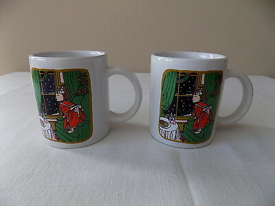 Two Early Tim Hortons Little Girl Waiting For Santa Claus Xmas China Coffee Mugs