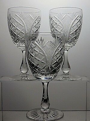 "Royal Brierley Crystal ""rbr16"" Cut Wine Glass/water Goblet - 6 1/3""(16Cm) Tall"
