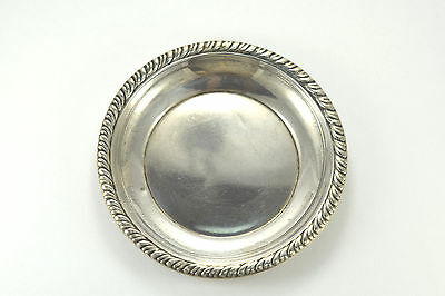 Antique 925 Sterling Silver Saucer with Gadroon Brim by Dunkirk Silversmiths INC