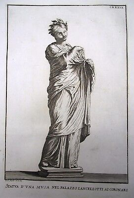 """1704 Rossi / Aquila STATUE OF A MUSE huge handcol 16"""" Master Engraving"""