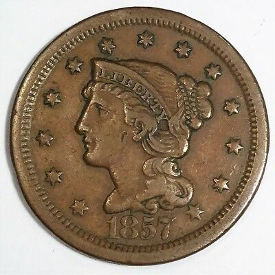 1857 Braided Hair Large Cent Large Date Beautiful High Grade Coin Rare Date