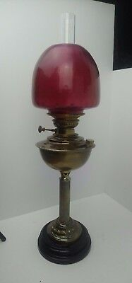 "Antique Vintage Large Brass Oil Lamp 28"" Tall Purple Shade Marble Base"