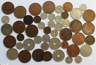 NORWAY 1890's to 1970's LOT OF 48 OLD COINS.