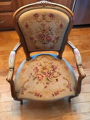 revival Rosewood Needlepoint Armchair Brass Tacked Square Back Rich Looking Ex S