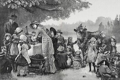 COW Dairy Being Milked at Farm Picnic, Huge Double-Folio 1880s Antique Print
