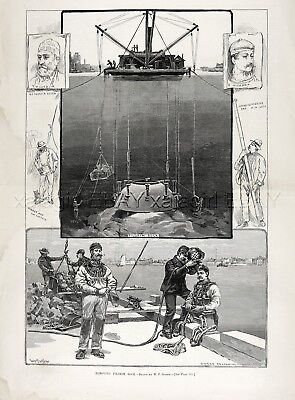 Divers SCUBA History, Named Divers, Removing Rock NYC Harbor 1880s Antique Print