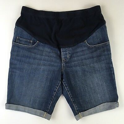 Old Navy Denim Maternity Shorts Size 12 Medium Wash Cuffed Over Belly Band
