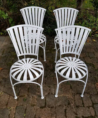Vintage Francois Carr'e Set of 4 Steel Sprung Outdoor Chairs 1930s