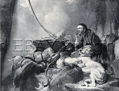 DOG Scottish Deerhound, Sir Edwin Landseer Antique Collotype Print 1870s