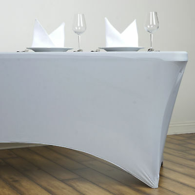 Silver 6 ft RECTANGLE SPANDEX STRETCH TABLE COVER Fitted Tablecloth Wedding