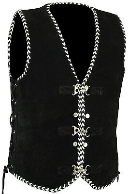 Mens Motorcycle Harley Style Spanish Black/White Braid Suede Vest with Clips
