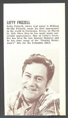 Lefty Frizzell, Country Music Star in 1969 Magazine Print Clipping. Free WW S/H