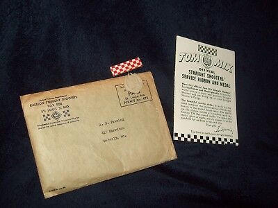 Tom Mix 1945 Glow-In-Dark Service Ribbon And Medal In Original Mailer,cowboys