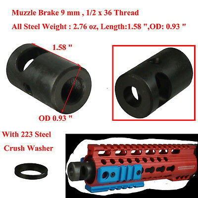 HOT!! Featureless Short Compact Muzzle Brake 1//2x28 Thread For 223 mm Knurled