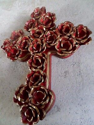"""Large 12"""" Mexican Folk Art Punched Tin Metal Red Rose Flower Wall Cross"""