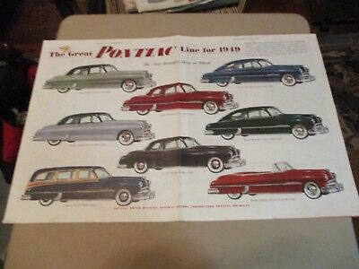 The Pontiac Line For 1949. 1949 Centerfold Saturday Evening Post Advertisement.