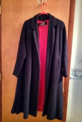 Vintage 1960 Women's Townley Swing Coat Navy with Red lining Chest Size 44""