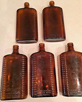Amber Vintage Whiskey Glass One Pint Bottle lot of 5 liquor drink NC Collection